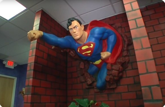 Statue of Superman in dental office