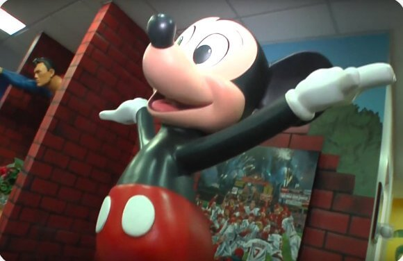 Statue of Mickey Mouse in dental office