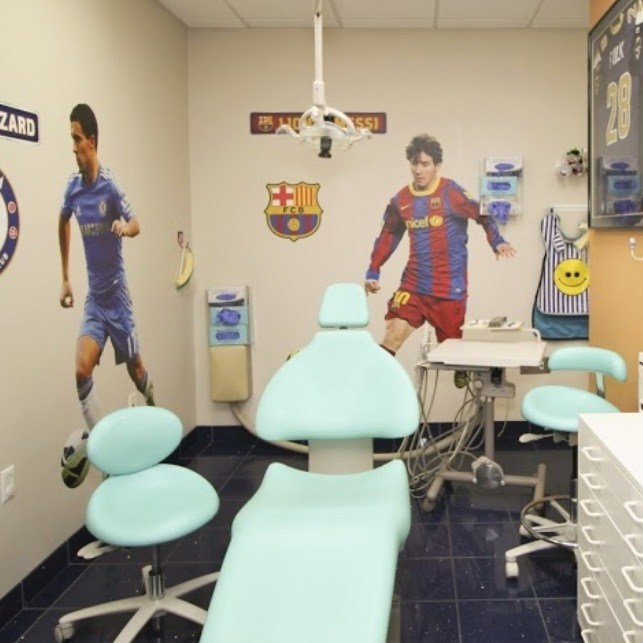 Soccer themed dental treatment room